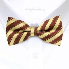 *Brand New*Gold&Burgundy Vivid Stripes Tuxedo Jacquard Boys Bow Tie B362