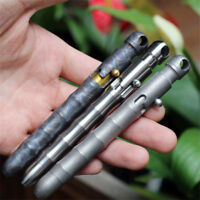 EDC TC4 Gun Titanium Alloy Solid Tactical Lock Key Ring Action Slub Pens Gift