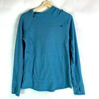 New Balance Long Sleeve Hooded Top Kangaroo Pocket Teal Womens Size M
