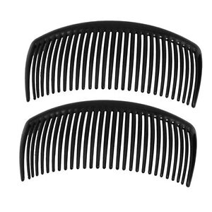 2 pcs Long Large BLACK Plastic Side Hair Combs Slides Grips-UK Seller-FREE P&P