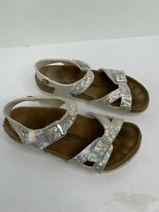 Kid's SZ 34 EU/ 3 US Birkenstock Arizona Hologram Birko-Flor Silver sandals