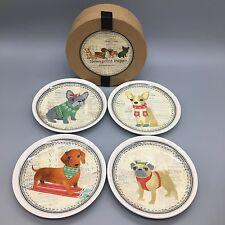 4 Newsprint Pups Appetizer/Dessert Plate Set Christmas Dogs Tidbit MAGENTA NEW
