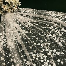 Ivory 3D Flower Grid Embroidery Lace Mesh Fabric Wedding Dress DIY By Metre