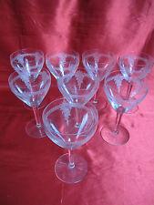 8 verres à vin blanc en cristal ART DECO guirlande fleurs gravées