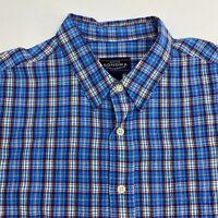 Sonoma Button Up Shirt Men's Size XL Short Sleeve Blue Plaid Casual 100% Cotton