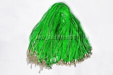 LOT 20X Organza Voile String Ribbon Necklace Silk Cords Green Adjust DIY Gift