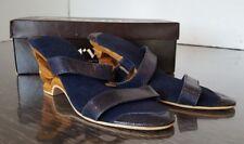 Karvings Women's Dark Blue Size 5 Hand Carved Wood Heel carving Clog Sandal