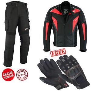 Winter Motorrad Textilkombi wasserdichte, Jacke und Hose, Schwarz-Rot, S bis 5XL