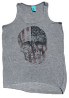 Happening In The Present Womens Long Tunic Tank Skull Gray ~ USA ~ Size Small