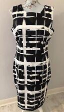 F&F Black & White Satin Style Sleeveless Smart Occasion Dress Size 16
