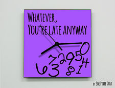 Whatever, you're late anyway / Square Purple - Wall Clock