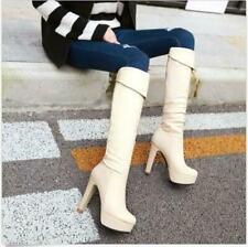 Women Round toe Stiletto Heels Knight Knee High Boots Platform Riding Shoes Size