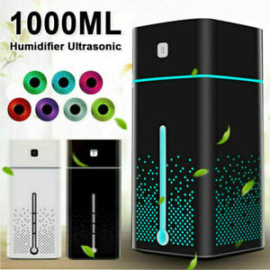 1L Air Humidifier Ultrasonic Mist Ultrasonic Aroma Diffuser Purifier 7 Color LED