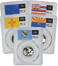 Flag 2008-S Silver State Quarter Set PR70DCAM PCGS Proof 70 Deep Cameo 5 Coins