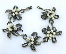Orchid Bracelet Pearl & Marcasite 925er Silver