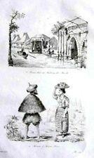 PHILIPPINES - MANILA - ILOCOS COSTUMES Original 1835 Antique Print