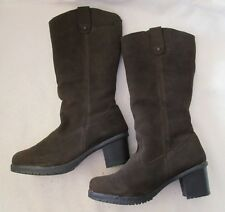 BEARPAW Women's 11 B  ADDISON Dark Brown Suede Faux Fur Lined Tall Boots NEW