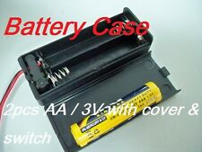 2 lot of Battery Box Holder Case for 2 packs AAA, 3A  3V with Cover / Switch