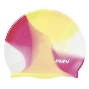 Maru Multi Silicone Swim Hat - Yellow / Red - 100% Silicone up to 14 Years