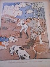 Caricature 1901  Chasse compagnie de perdreaux infanterie  Dessin d'Abel Faivre