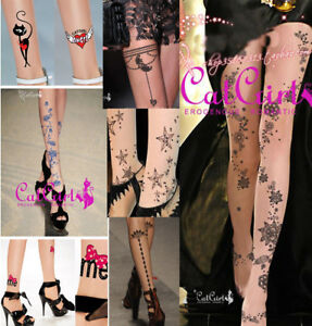 Sexy Hot Tattoo Pantyhose Cute Colorful Pattern Stockings Sexy Halloween Costume