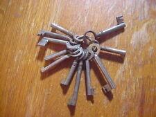 11 Antique  CABINET DOOR  Skeleton KEYS On Keyring