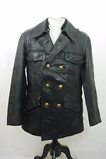 Vintage 80's German Black Double Breasted Police Polizei Leather Jacket 38""