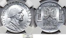 Albania. Italian Occupation of WWII, Vittorio E. III. 1 Lek 1939-R. NGC AU58