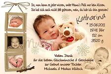10 Danksagungskarten Geburt Danksagung Geburtskarten Foto Babykarten Geburt