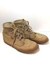 Vintage LL BEAN Mens Maine Hiking Boots Khaki Canvas Water Resistant Shoes