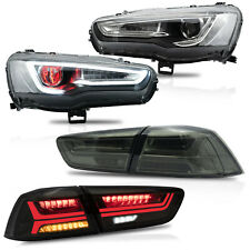 Customized ALL BLACK Headlights w/DEMON EYES+SMOKED Taillights for 08-17 Lancer