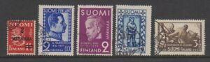 Finland - 1934/8, 5 x Issues - F/U (a)