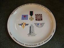 Assiette Combattants Volontaires de la Résistance 1940 1945 limoges pillivuyt