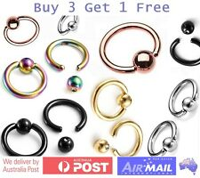 6mm 8mm 8mm 12mm CBR Steel Captive Ball Bead Hoop Cartilage Septum Ring Piercing