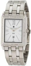 NEW Charles-Hubert 18313-W Men's Diamond Baleen Watch Stainless Steel White Dial