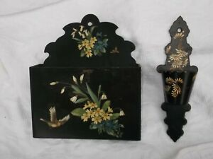 Vintage/Antique  Wooden Lacquer Painted Letter Rack/& Wall Pocket