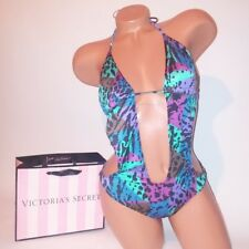Victoria Secret One Piece Swim Monokini Small Blue Purple Leopard Cutout