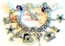 "DALLAS COWBOYS CHEERLEADERS NFL HANDMADE FOOTBALL CHARM BRACELET 6 3/4"" Adj"