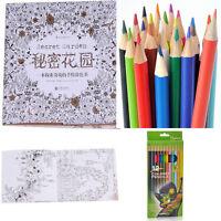Adult Kids Secret Garden Inky Treasure Hunt Coloring Book Colored Pencil Set Hot