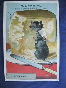 Victorian Trade Card RARE C.J Yingling Tiffin OH MOUSE Eats Cheese Scraps 5A