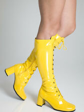 Yellow Boots - Womens Retro GoGo Knee High Lace up Eyelet Boots  Size 10 UK EU44
