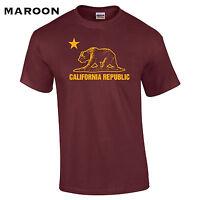 441 California Republic Mens T-Shirt funny flag state Los Angeles Hollywood bear