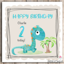 Personalised Dinosaur Birthday Card 1st 2nd 3rd 4th Boy Son Nephew Grandson