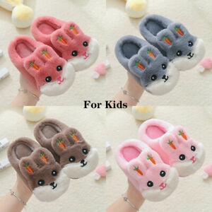 Winter Furry Slippers Infant.Toddler Kids Baby Warm Shoes Cartoon Soft Sliders