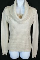 ANGEL OF THE NORTH Anthropologie S Beige Waffle Knit Cowl Neck Pullover Sweater