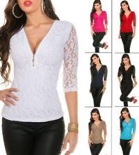 Damenblusen, - tops & -shirts ohne Kragen in Größe 38 Spitze