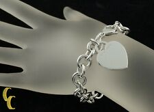 Tiffany & Co. Sterling Silver Blank Heart Tag Charm Bracelet 7.5""