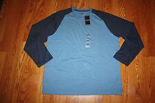 NWT Mens IZOD Heathered Blue Navy Blue Long Sleeve LS Shirt 2XL XXL