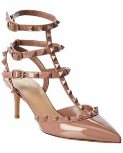Valentino Rockstud Caged 65 Patent Ankle Strap Pump Women's  37