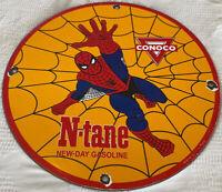 "VINTAGE 1968 SPIDER MAN NTANE CONOCO GASOLINE 12"" PORCELAIN METAL COMIC OIL SIGN"